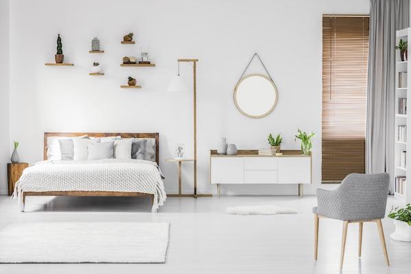 Idee Schlafizmmer in Weiß, Holz und Grün