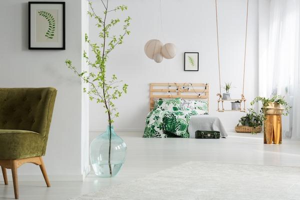 Idee in Weiß und Grün (Dezent: Holz und Gold)