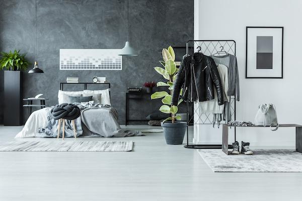Schlafzimmer Grau mit Weiß als Kontrast