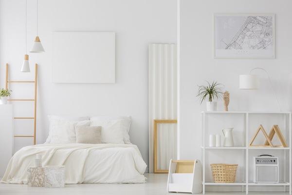 Schlafzimmer Idee Weiß mit Holz